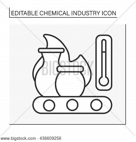 Ceramics Production Line Icon. Dishes Manufactured By Application Of Heat. Chemical Industry Concept