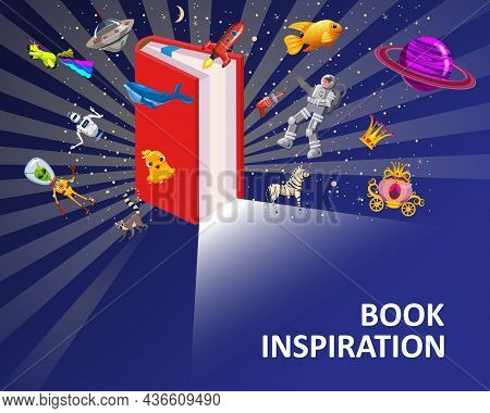 Open Book Imagination Concept Background. Inspiration Reading Book With Fantasy And Creative Element