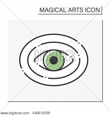 Aura Color Icon. Unseen Field Of Energy Surrounding Person Physical Body. Magical Arts Concept. Isol
