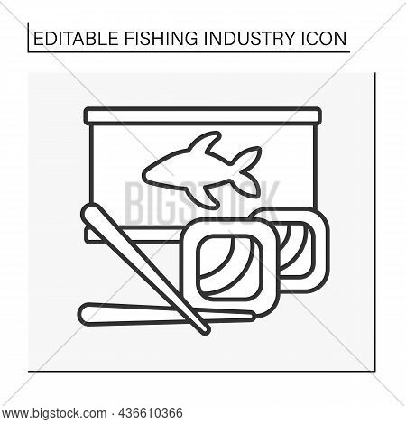 Fish Products Line Icon. Ready-made Food. Sushi And Canned Fish. Fishing Industry Concept. Isolated