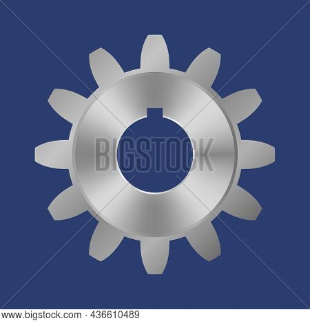 Steel Gear. Editable Mock Up With Blank Surface. Vector Illustration. Isolated Monochromatic Backgro