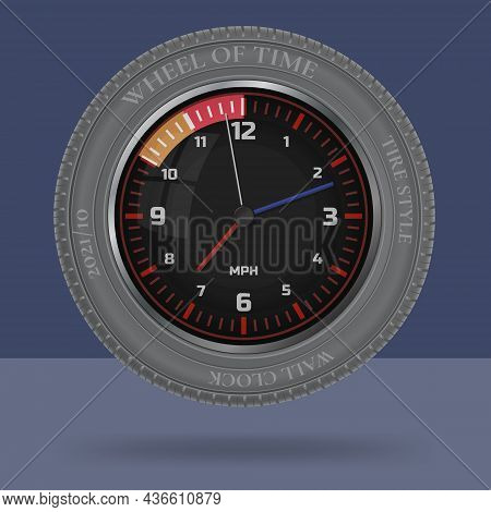 Wheel Of Time. Tire Style Decorative Wall Clock. Creative Business Idea. Isolated  Monochromatic Bac
