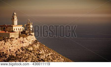 Mesa Roldan Lighthouse, Cabo De Gata Nijar Natural Park In Almeria Province, Andalusia Spain. Touris