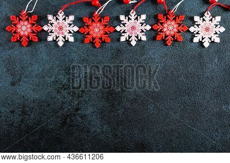 Christmas Composition. Frame Made Of Christmas Decor And Toys On Dark Background. Top View, Copy Spa