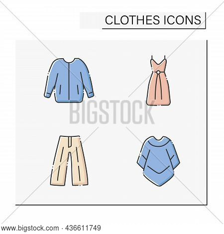 Clothes Color Icons Set. Trendy Outfits. Bomber Jacket, Drawstring Dress, Mucho Poncho And Blazer. F