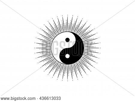 Ying Yang Symbol Of Harmony And Balance, Chinese Phylosophy Describes How Opposite And Contrary Forc