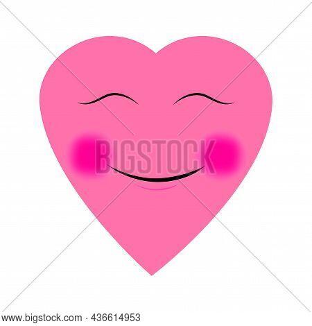Smiling Pink Heart. Romantic Background. Love Symbol. Flat Simple Design. Cartoon Style. Vector Illu