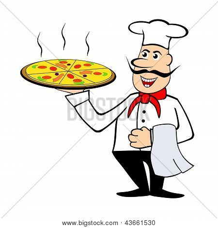 Chef Holding A Pizza