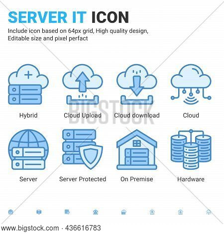 Server It And Technology Icon Set. Editable Size. With Blue Ui Style On Isolated White Background. S
