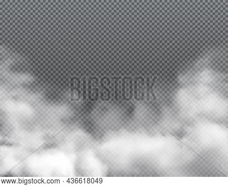 Fog Or Clouds, Smoke Toxic Steaming Vapour With Dust Smog, Realistic Vector Background. Clouds Of Wh