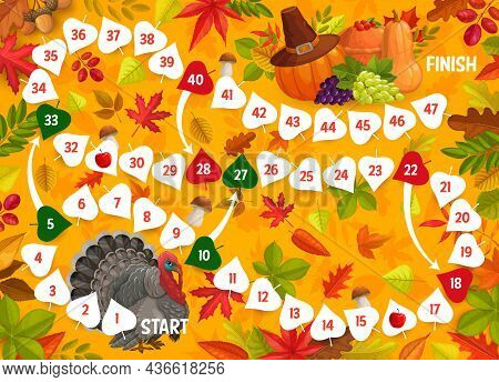 Thanksgiving Board Game, Turkey Bird, Autumn Leaves And Harvest. Vector Kids Boardgame With Numbered