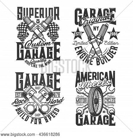 Crossed Engine Pistons, Spark Plugs And Wrenches T-shirt Print Template. Car Repair Service Garage S