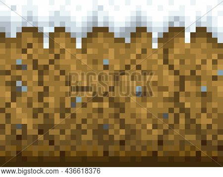 Snow And Ground Blocks Pattern. Cubic Pixel Game Background, Eight-bit Arcade Level Environment Back