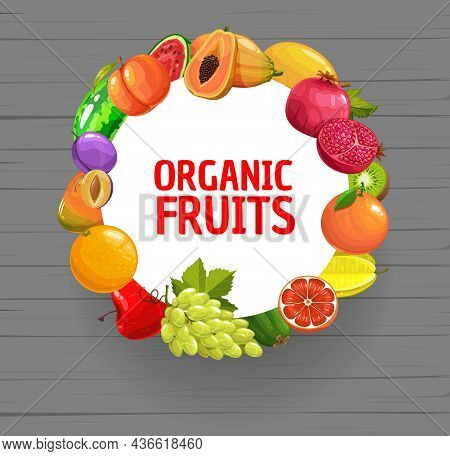 Fresh Organic Fruits Round Banner. Tropical And Ordinary Fruits Mix On Wooden Plank Background. Orga