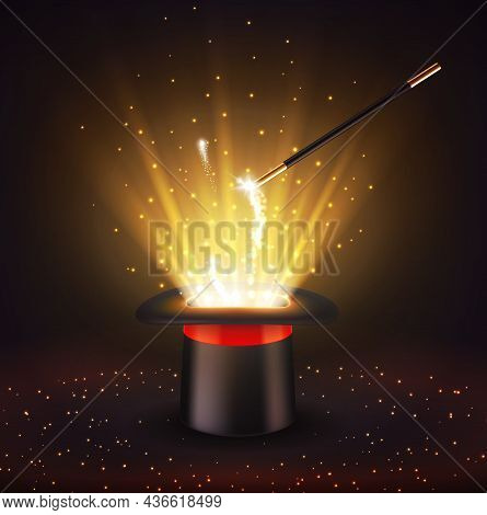 Circus Magician Top Hat And Magic Wand With Sparkles, Vector Background. Circus Show, Magician Illus