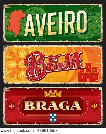 Aveiro, Braga, Beja Portuguese Province Vector Plates And Tin Signs. Districts Of Portugal, Metal Ru