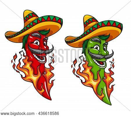 Cartoon Mexican Jalapeno Or Chili Pepper Mascot Character In Sombrero With Fire Flames. Mexican Food
