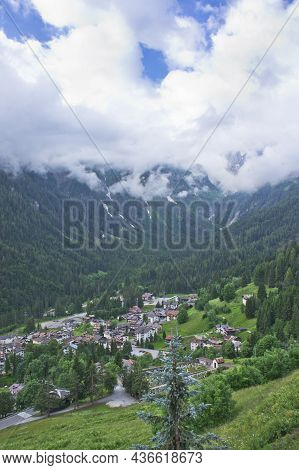 Natural Landscape, Small Town Around Dolomites Alps, Italy, Europe