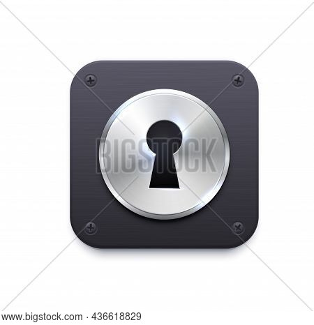 Lock With Keyhole App Icon. Security And Protection Application, Secret Data Encryption, Computer Fi