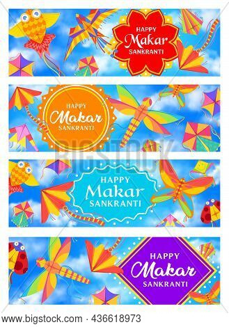 Indian Makar Sankranti Holiday Banners With Vector Kites In Blue Sky And Clouds. Hindu Religion Fest