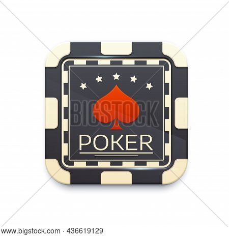 Casino Chip Icon With Poker Game Symbol. 3d Vector Gambling Game Icon, Isolated Ui Element For Mobil