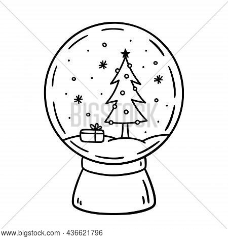 Glass Snow Globe Isolated On White Background. Festive Toy Decorated With A Christmas Tree And Snowf