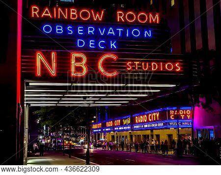 A Close Angle Shot Of The Rainbow Room Observation Deck Nbc Studios Neon Sign Near Radio City Music