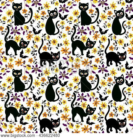 Halloween Seamless Pattern With Cats And Flowers Garden. Vector Holiday Illustration For Halloween.