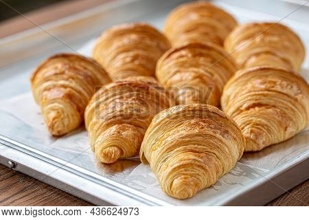 Close Up Of Freshly Baked Plain Croissant. Homemade French Butter Croissants.