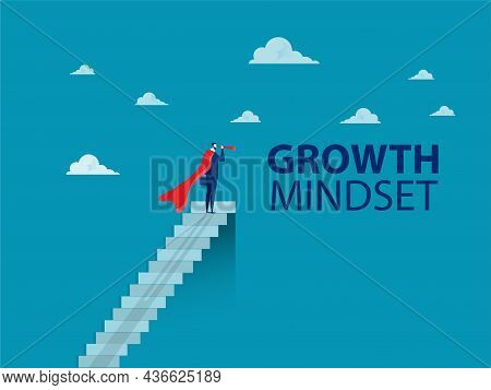 Businessman Looks In The Telescope At Top Stair. Growth Mindset Concept Vector Illustrator