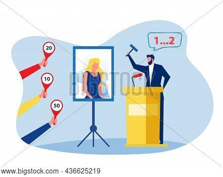 Auction Business Concept, Selling Portrait Painting. Website Landing Page Design Template Vector Ill