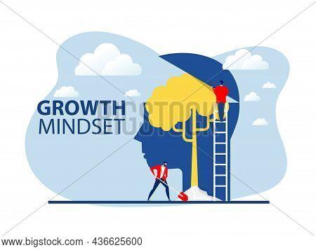 Businessman Plant Tree On Big Head Human Think Growth Mindset  Concept Vector
