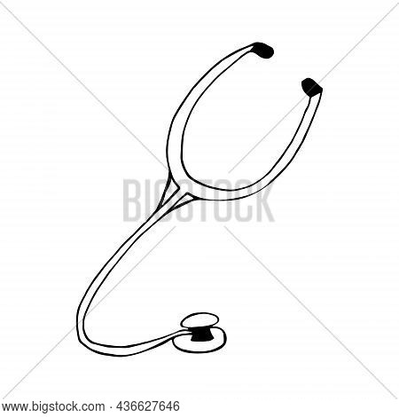 Stethoscope Hand Drawn Doodle. Vector, Scandinavian, Nordic, Minimalism, Monochrome Icon Diagnosis H