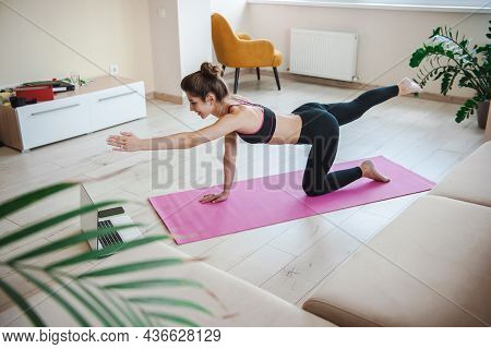 Sporty Woman Doing Online Workouts Isolated At Home, Holding Left Hand Outstretched Forward And Righ