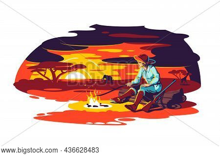 Character Sit Near Fire In Savanna Vector Illustration. Landscape With Silhouettes Of Trees, Orange