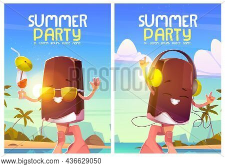 Summer Party Posters With Cute Ice Cream Character And Tropical Landscape. Vector Flyers With Cartoo