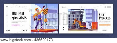 Construction Industry Cartoon Landing Pages. Excavator Machinery Working On Building Site, Worker Bu