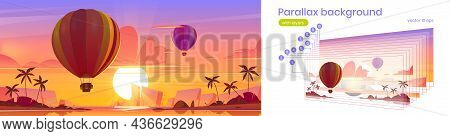 Parallax Background Hot Air Balloons Flying In Dusk Sky Above Tropical Island With Palms In Ocean. S