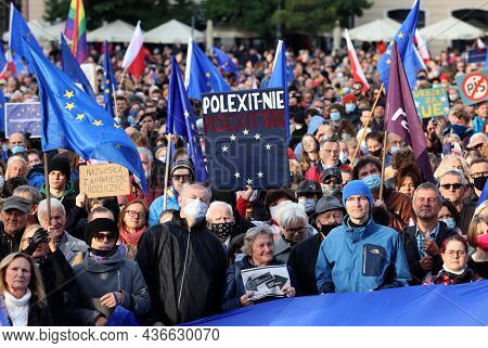 Cracow; Poland - Oct 10; 2021: We Stay; The Government Leaves! People Protest Against The Verdict Of