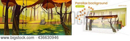 Autumn Landscape With Forest And Lake. Vector Parallax Background For 2d Animation With Cartoon Illu