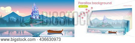 Fantasy Medieval Castle On Rock At Morning. Vector Parallax Background For 2d Animation With Cartoon