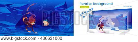 Underwater Sea Or Ocean Landscape With Woman Scuba Diver And Angry Shark. Vector Parallax Background