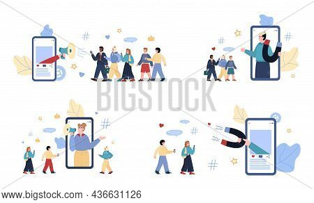 Set Of Vector Illustrations For Concept Of Advertising Influence Marketing.