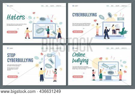 Web Banners With Concept Cyberbullying, Trolling And Online Abuse In Internet.