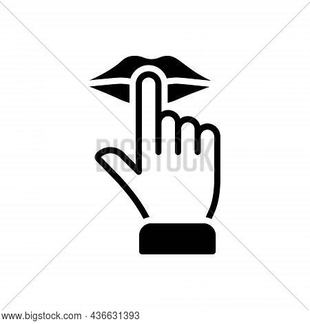 Black Solid Icon For Quiet Keep-finger-on-lip Shush Silence Calm Tranquil Serene Silent Peaceful