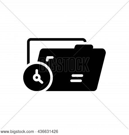 Black Solid Icon For Temporary Changeable Transitory Archive Format Document Editable