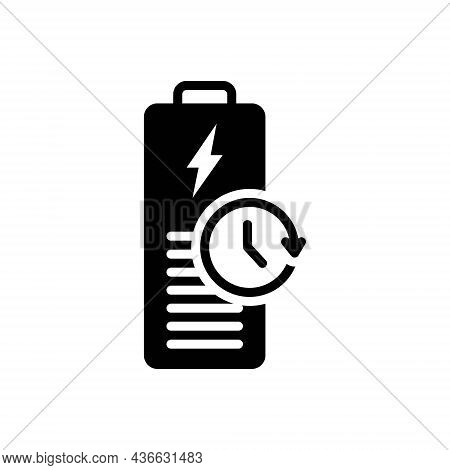 Black Solid Icon For Longest Battery Charge Backup Capacity Recharge Electric