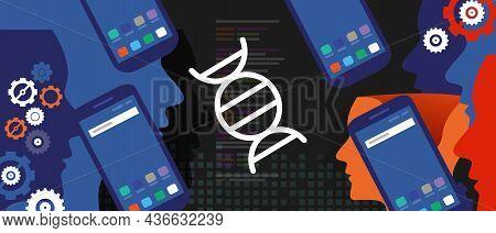 Dna Genome Gene Technology In Digital Smartphone Mobile Tech Programming Coding