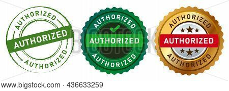 Authorized Stamp Logo Sign Sticker Watermark Permit By The Author In Green And Gold Design Graphic