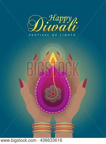 Happy Diwali Or Deepavali. Indian Woman Holding Burning Diya Oil Lamp Celebrate Festival. Lady Hands